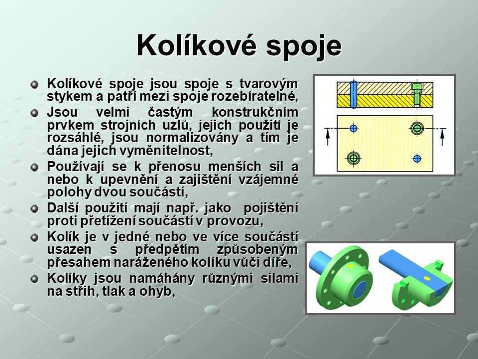 Kolíkové spoje Kolíkové spoje jsou spoje s tvarovým stykem a patří mezi spoje rozebíratelné,