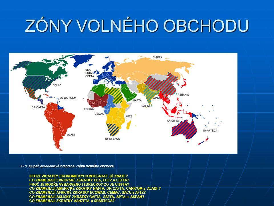 ZÓNY VOLNÉHO OBCHODU 3 - 1. stupeň ekonomické integrace - zóna volného obchodu. KTERÉ ZKRATKY EKONOMICKÝCH INTEGRACÍ JIŽ ZNÁTE
