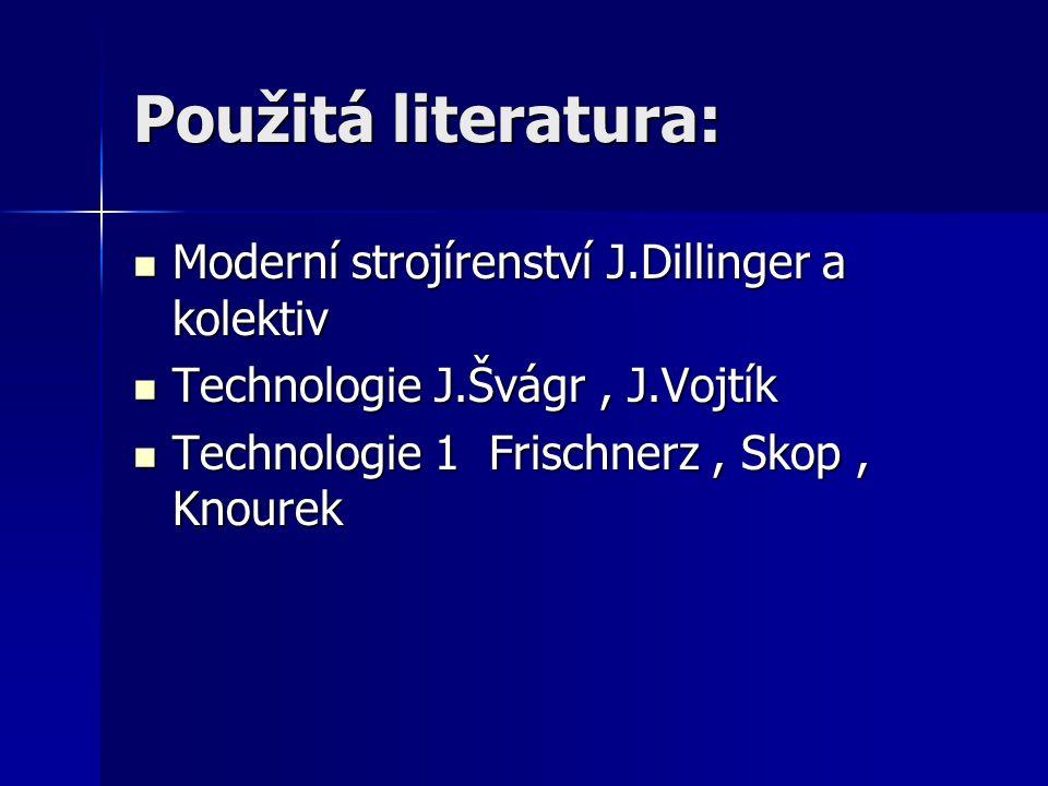 Použitá literatura: Moderní strojírenství J.Dillinger a kolektiv