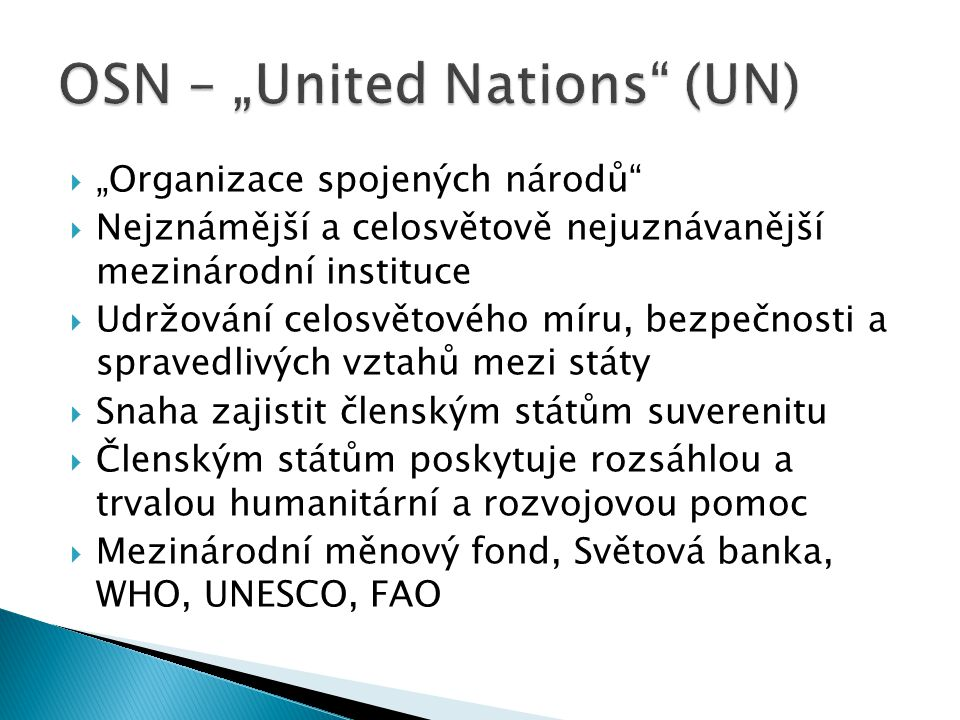 "OSN – ""United Nations (UN)"
