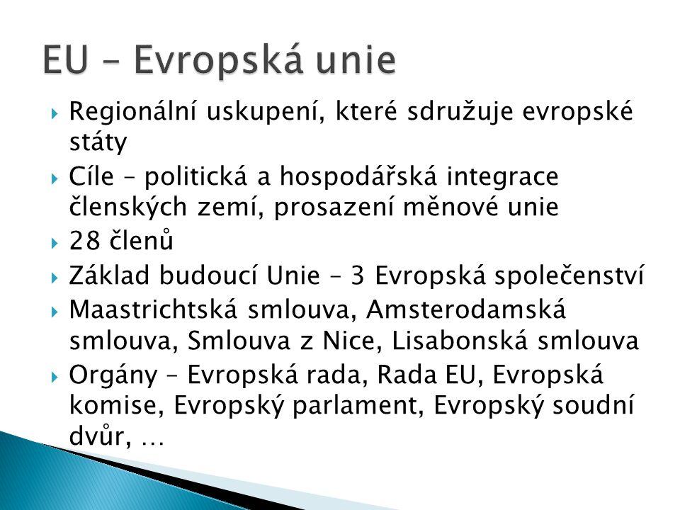 EU – Evropská unie Regionální uskupení, které sdružuje evropské státy