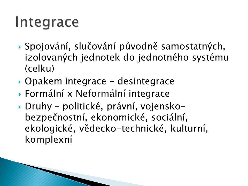 Integrace Spojování, slučování původně samostatných, izolovaných jednotek do jednotného systému (celku)