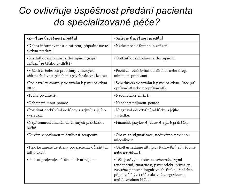 Co ovlivňuje úspěšnost předání pacienta do specializované péče