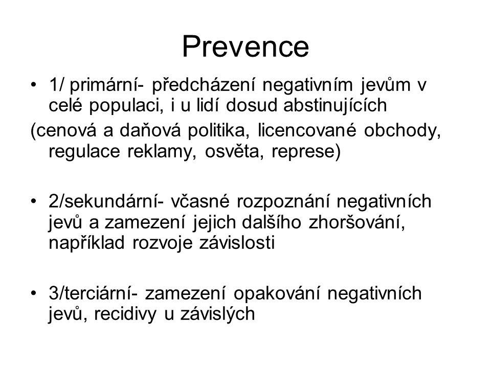 Prevence 1/ primární- předcházení negativním jevům v celé populaci, i u lidí dosud abstinujících.