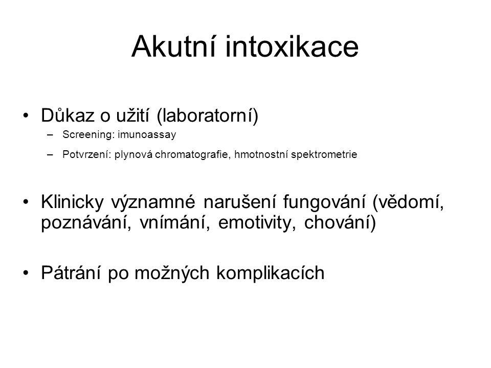Akutní intoxikace Důkaz o užití (laboratorní)