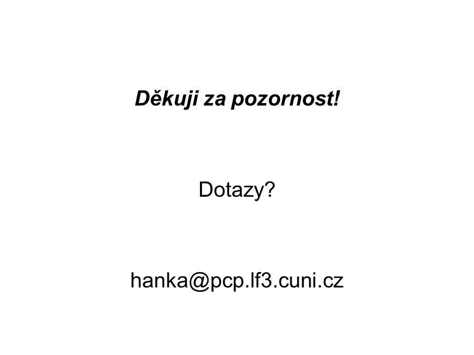 Děkuji za pozornost! Dotazy hanka@pcp.lf3.cuni.cz