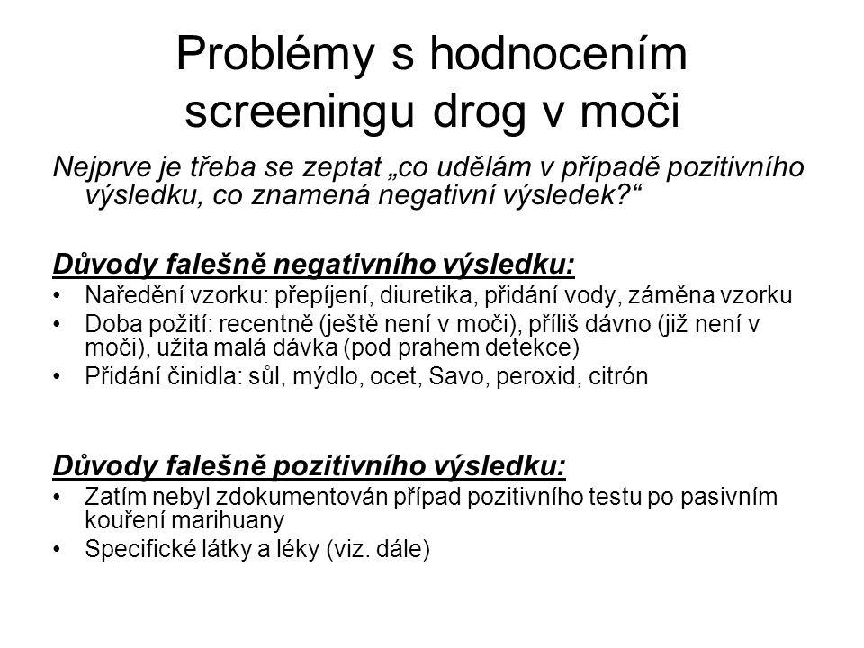 Problémy s hodnocením screeningu drog v moči
