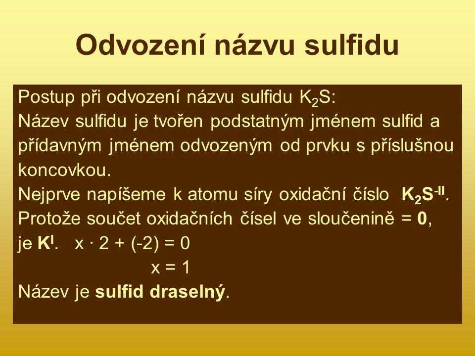 Odvození názvu sulfidu
