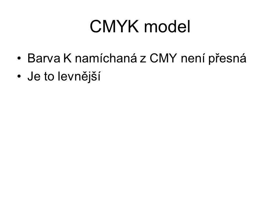 CMYK model Barva K namíchaná z CMY není přesná Je to levnější