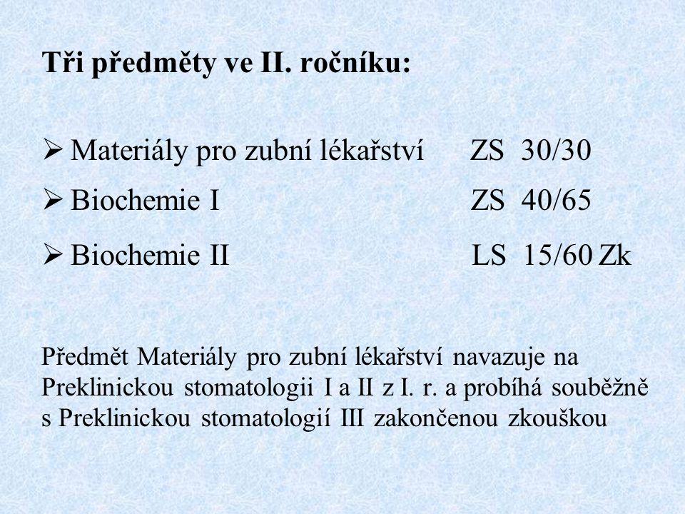 Tři předměty ve II. ročníku: Materiály pro zubní lékařství ZS 30/30