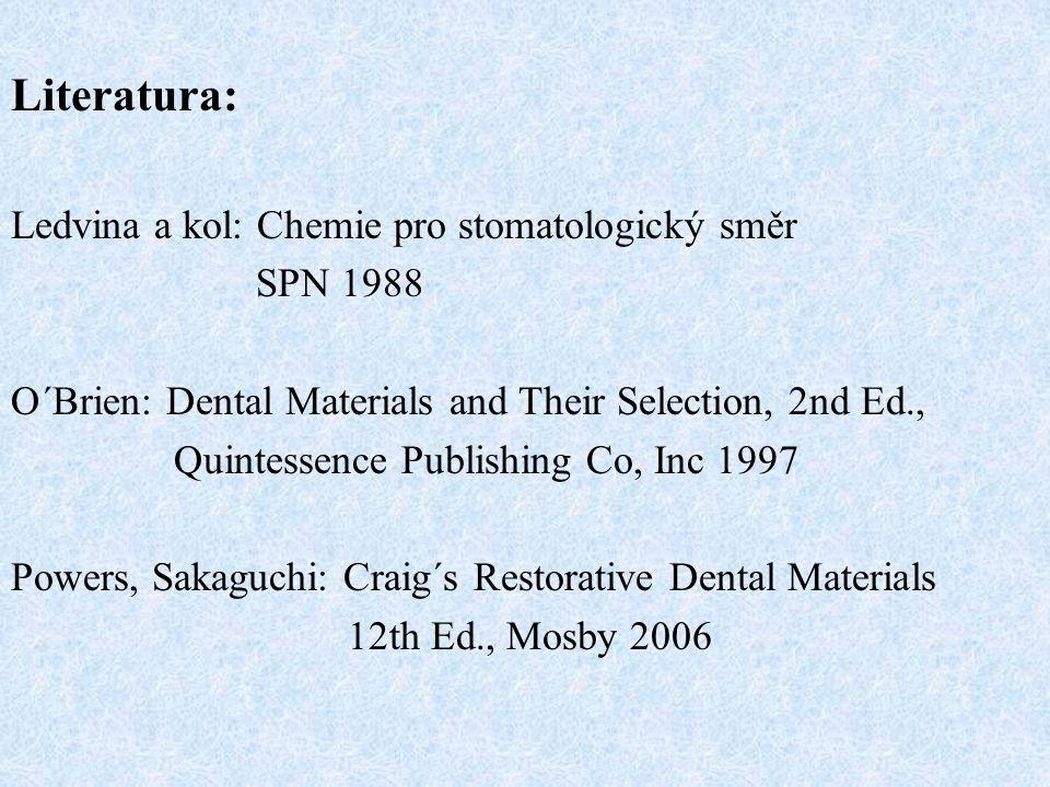 Literatura: Ledvina a kol: Chemie pro stomatologický směr SPN 1988