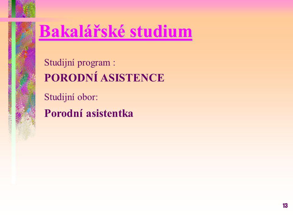 Bakalářské studium PORODNÍ ASISTENCE Porodní asistentka