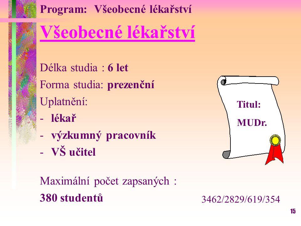 Všeobecné lékařství Program: Všeobecné lékařství Délka studia : 6 let