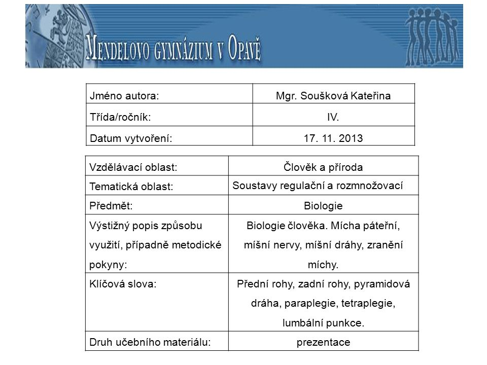 Jméno autora: Mgr. Soušková Kateřina. Třída/ročník: IV. Datum vytvoření: 17. 11. 2013. Vzdělávací oblast: