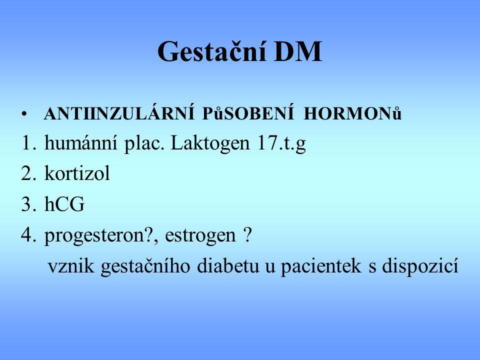 Gestační DM 1. humánní plac. Laktogen 17.t.g 2. kortizol 3. hCG