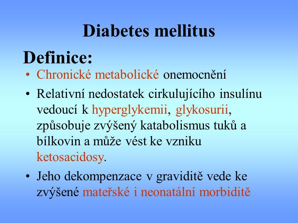 Diabetes mellitus Definice: Chronické metabolické onemocnění