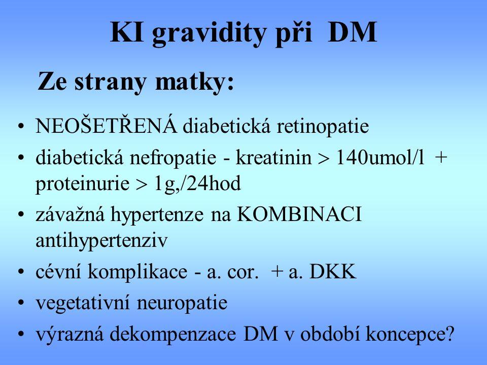 KI gravidity při DM Ze strany matky: NEOŠETŘENÁ diabetická retinopatie