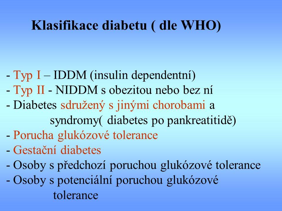 Klasifikace diabetu ( dle WHO) - Typ I – IDDM (insulin dependentní) - Typ II - NIDDM s obezitou nebo bez ní - Diabetes sdružený s jinými chorobami a syndromy( diabetes po pankreatitidě) - Porucha glukózové tolerance - Gestační diabetes - Osoby s předchozí poruchou glukózové tolerance - Osoby s potenciální poruchou glukózové tolerance