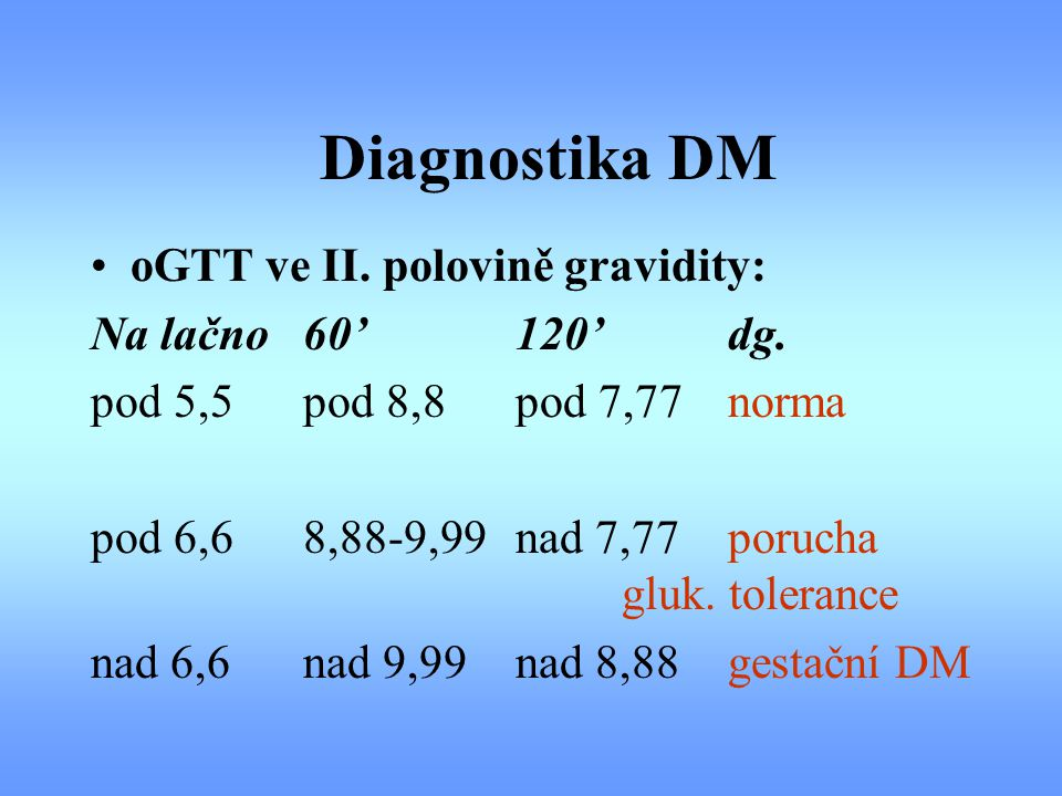 Diagnostika DM oGTT ve II. polovině gravidity: Na lačno 60' 120' dg.