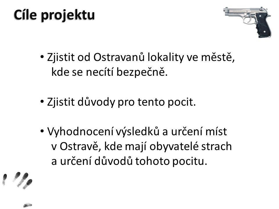 Cíle projektu Zjistit od Ostravanů lokality ve městě,