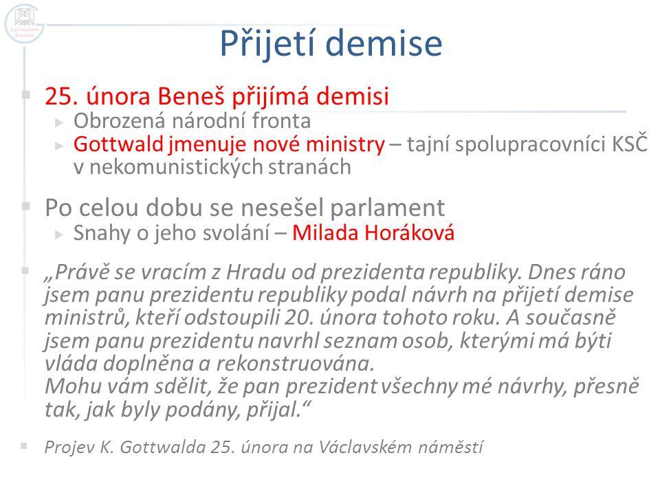 Přijetí demise 25. února Beneš přijímá demisi