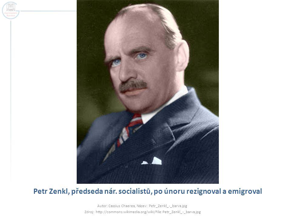 Petr Zenkl, předseda nár. socialistů, po únoru rezignoval a emigroval
