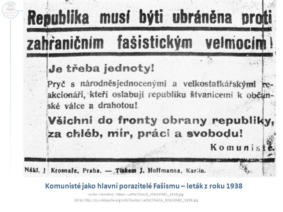 Komunisté jako hlavní porazitelé Fašismu – leták z roku 1938
