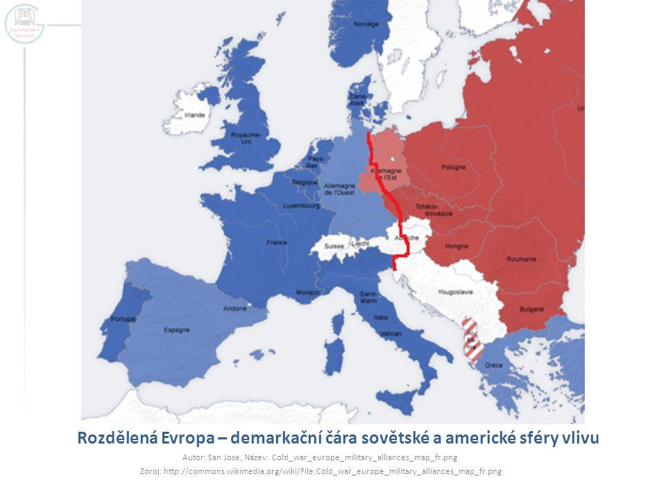 Rozdělená Evropa – demarkační čára sovětské a americké sféry vlivu