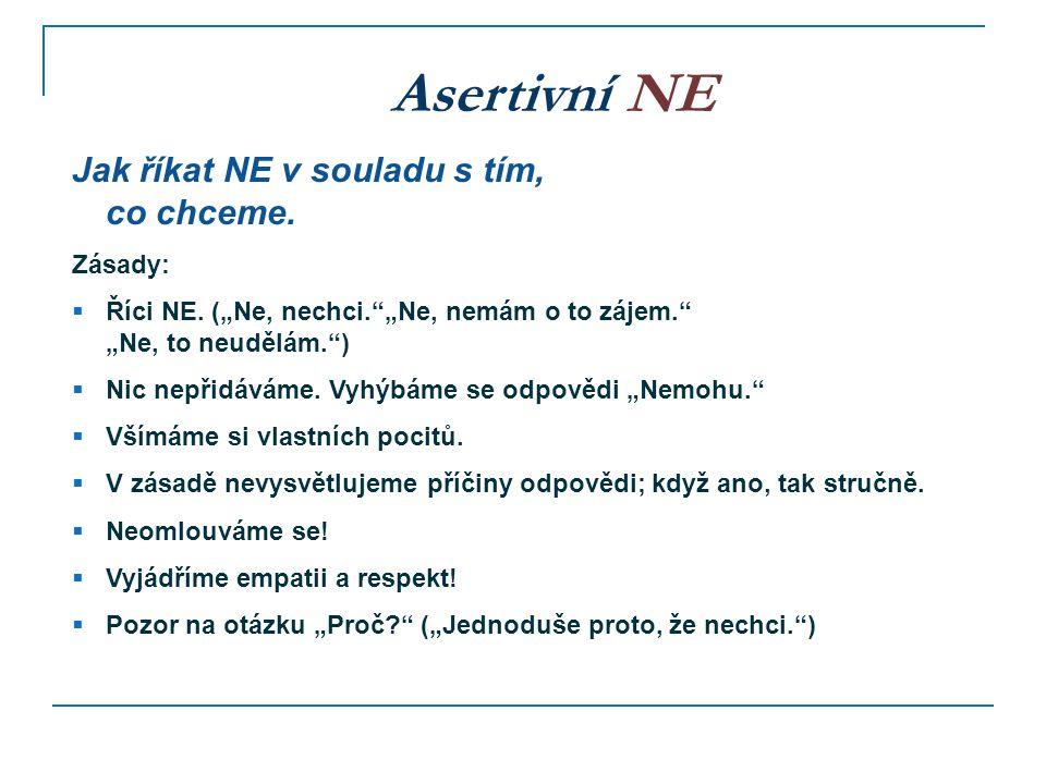 Asertivní NE Jak říkat NE v souladu s tím, co chceme. Zásady: