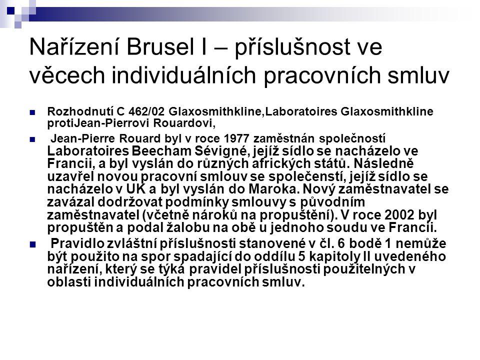 Nařízení Brusel I – příslušnost ve věcech individuálních pracovních smluv