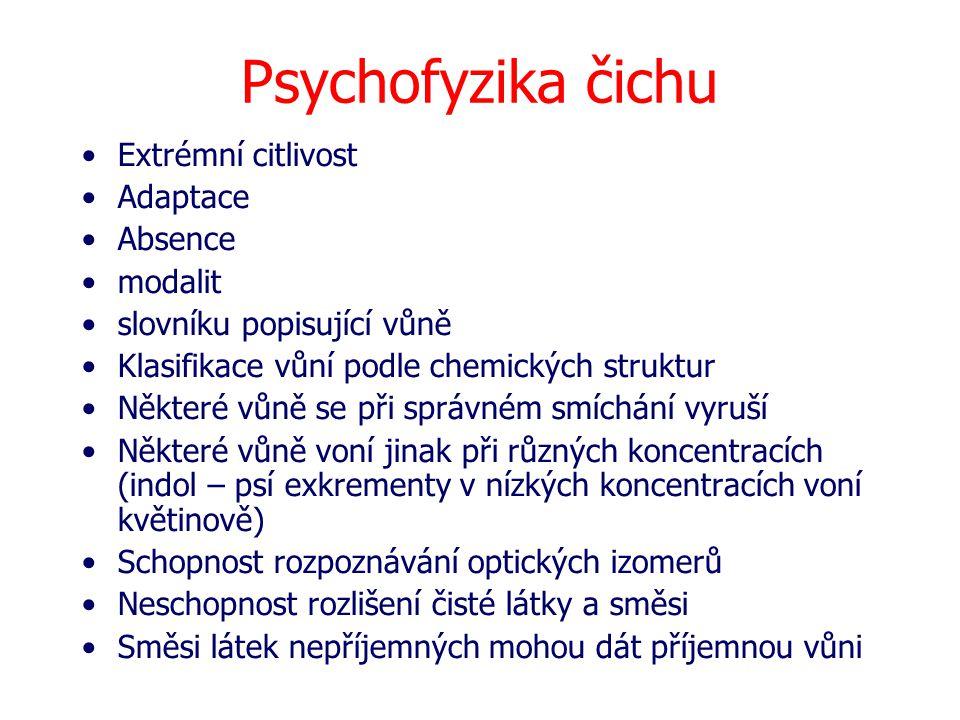Psychofyzika čichu Extrémní citlivost Adaptace Absence modalit