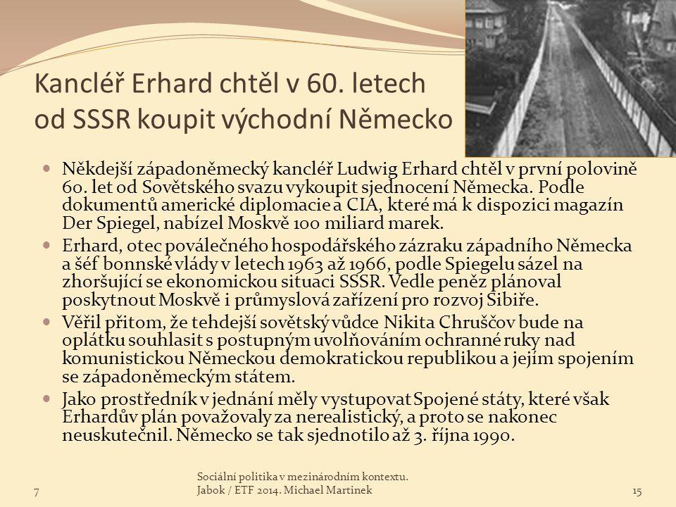 Kancléř Erhard chtěl v 60. letech od SSSR koupit východní Německo