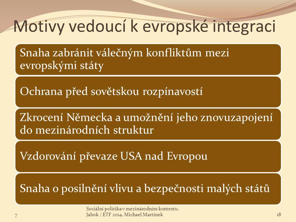 Motivy vedoucí k evropské integraci