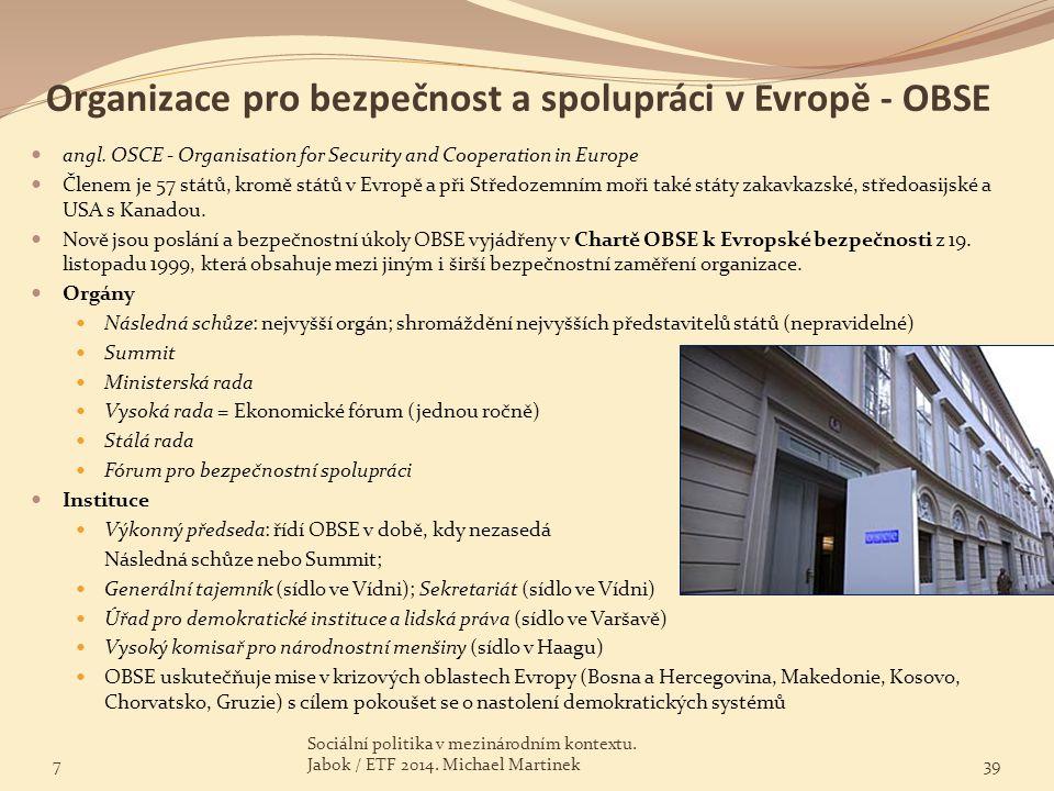 Organizace pro bezpečnost a spolupráci v Evropě - OBSE
