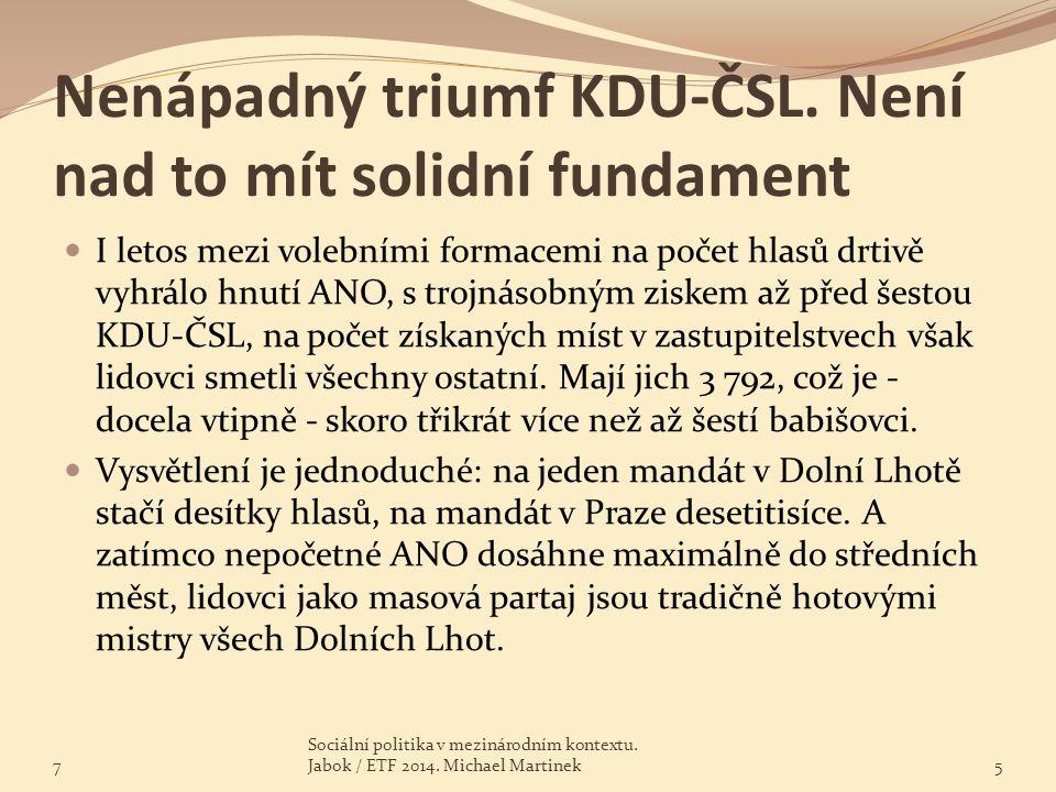 Nenápadný triumf KDU-ČSL. Není nad to mít solidní fundament