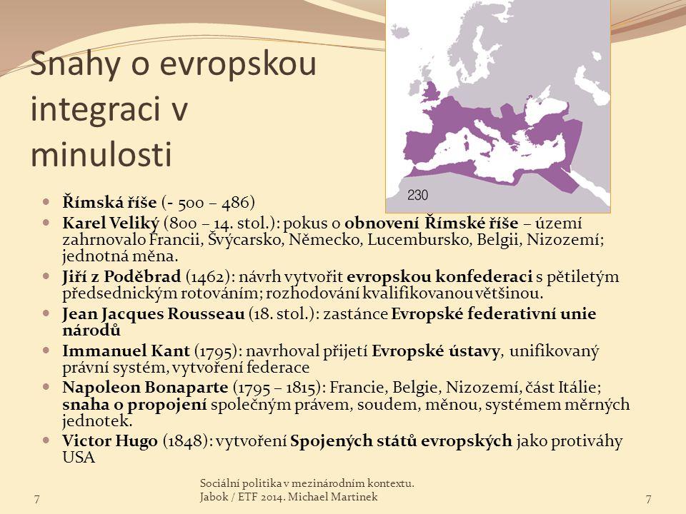 Snahy o evropskou integraci v minulosti