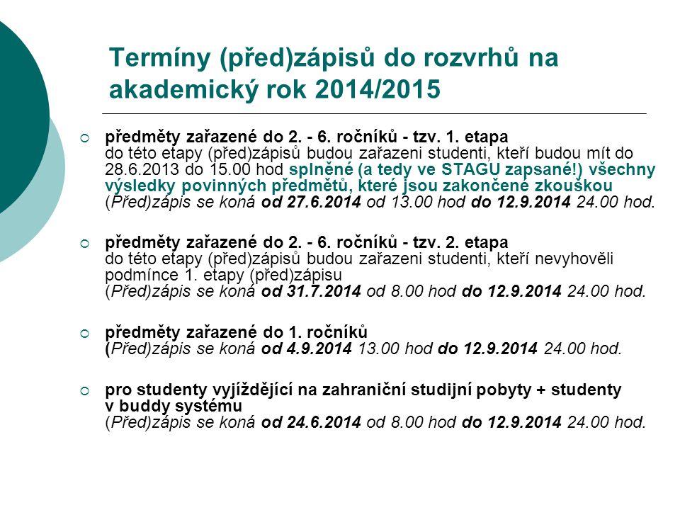 Termíny (před)zápisů do rozvrhů na akademický rok 2014/2015
