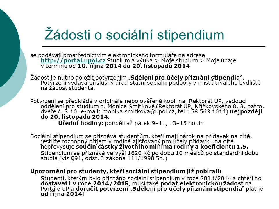 Žádosti o sociální stipendium