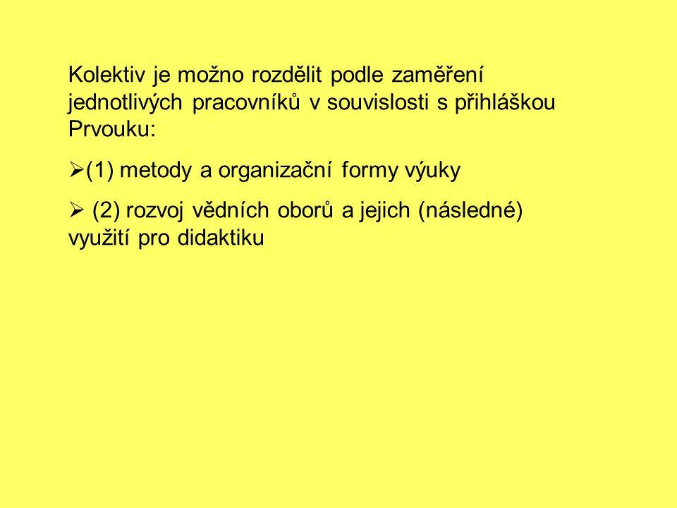 Kolektiv je možno rozdělit podle zaměření jednotlivých pracovníků v souvislosti s přihláškou Prvouku: