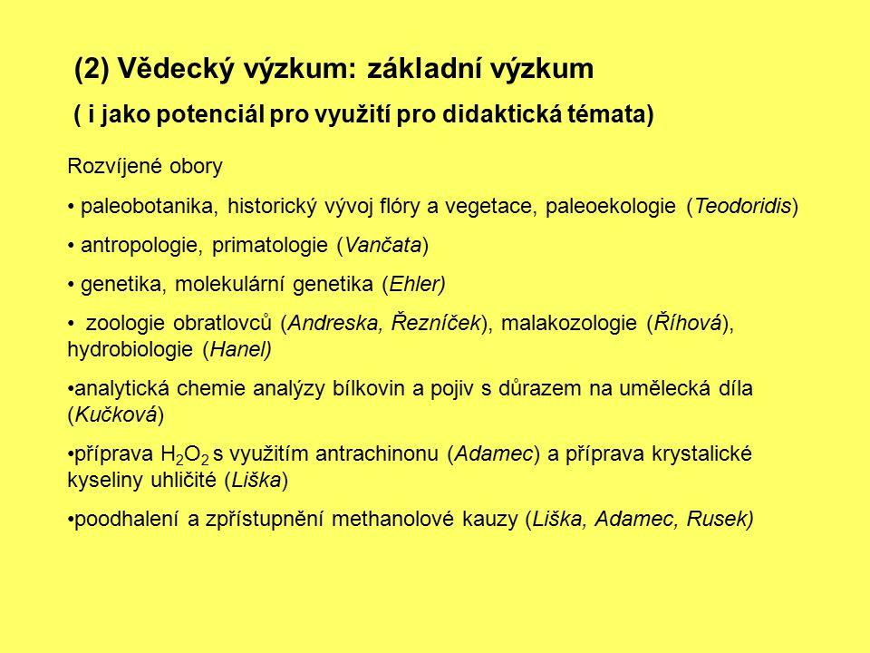 (2) Vědecký výzkum: základní výzkum