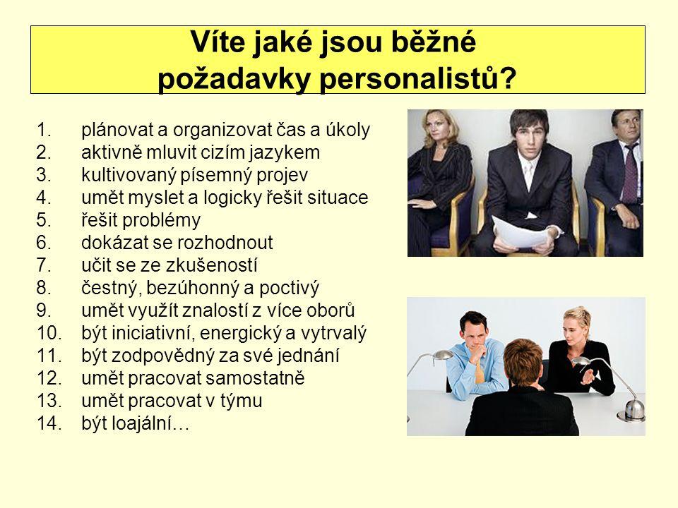 požadavky personalistů
