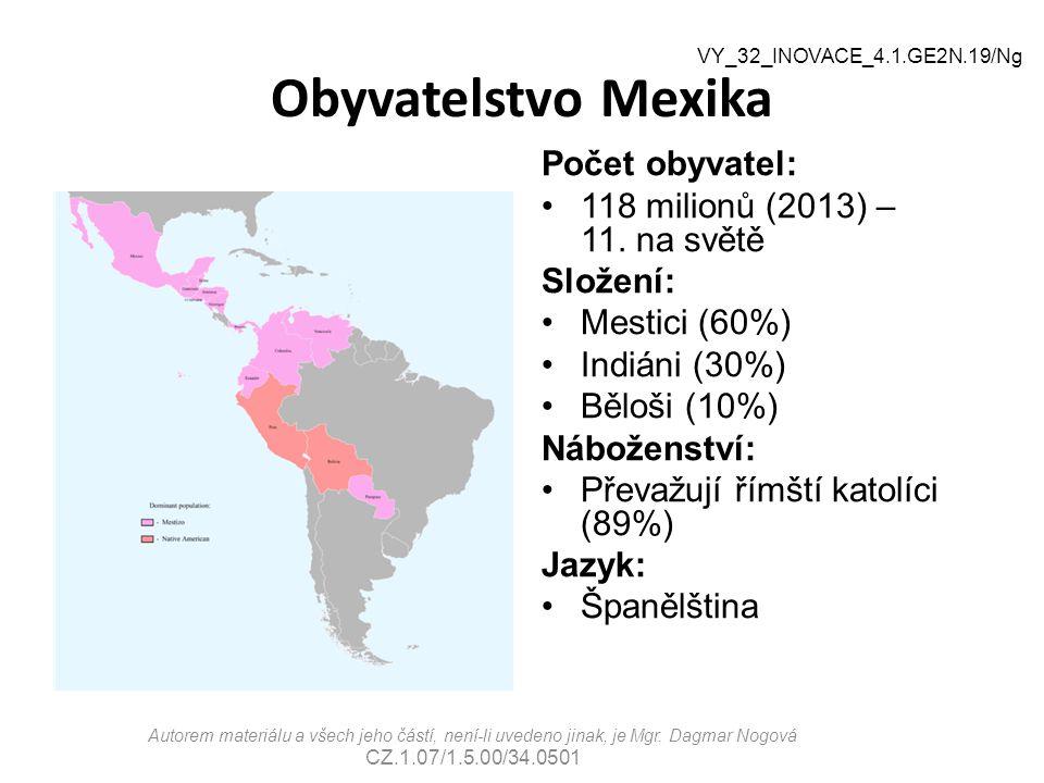 Obyvatelstvo Mexika Počet obyvatel: 118 milionů (2013) – 11. na světě