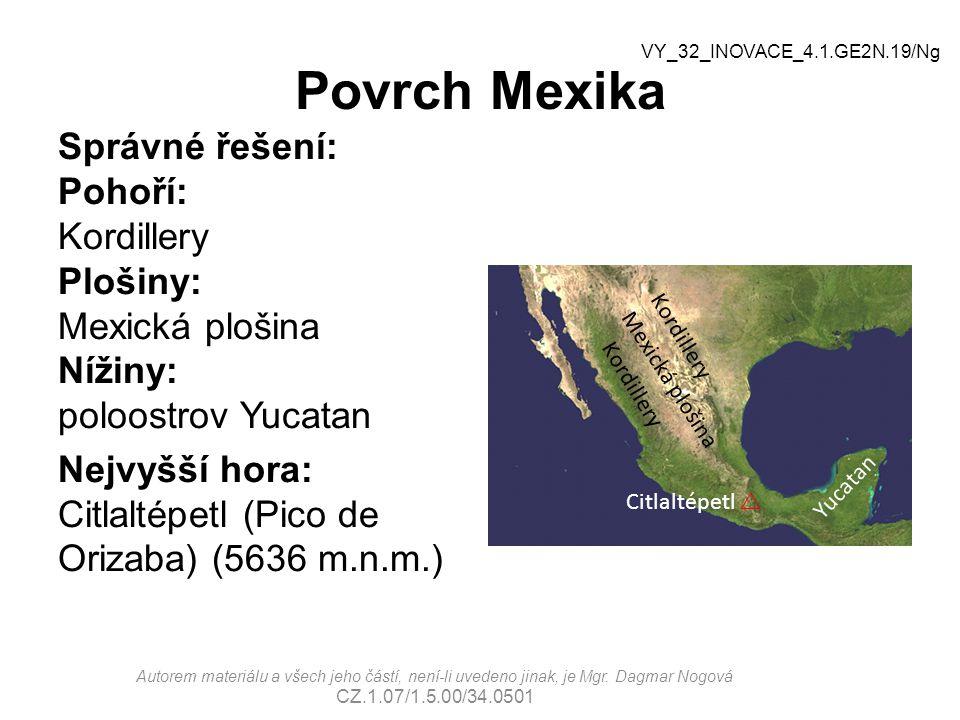 Povrch Mexika VY_32_INOVACE_4.1.GE2N.19/Ng.