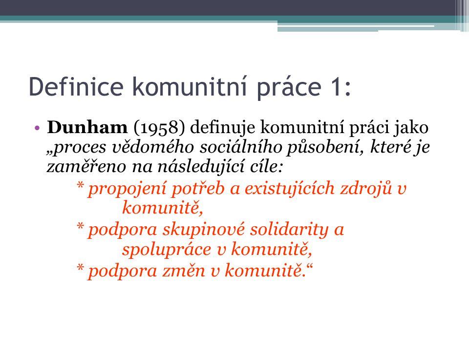Definice komunitní práce 1: