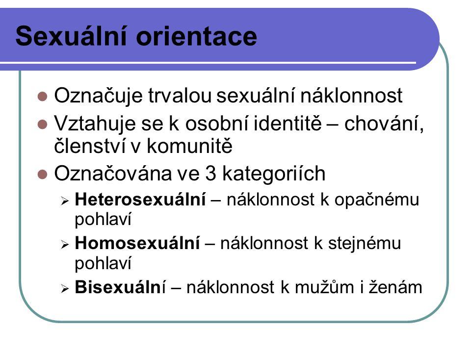 Sexuální orientace Označuje trvalou sexuální náklonnost