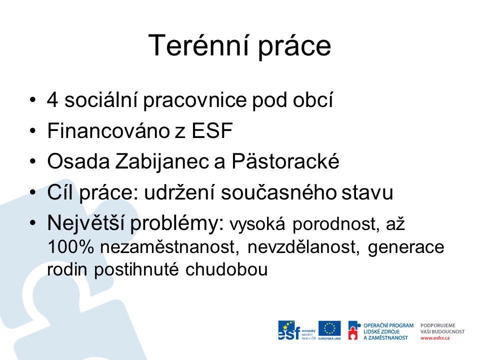 Terénní práce 4 sociální pracovnice pod obcí Financováno z ESF
