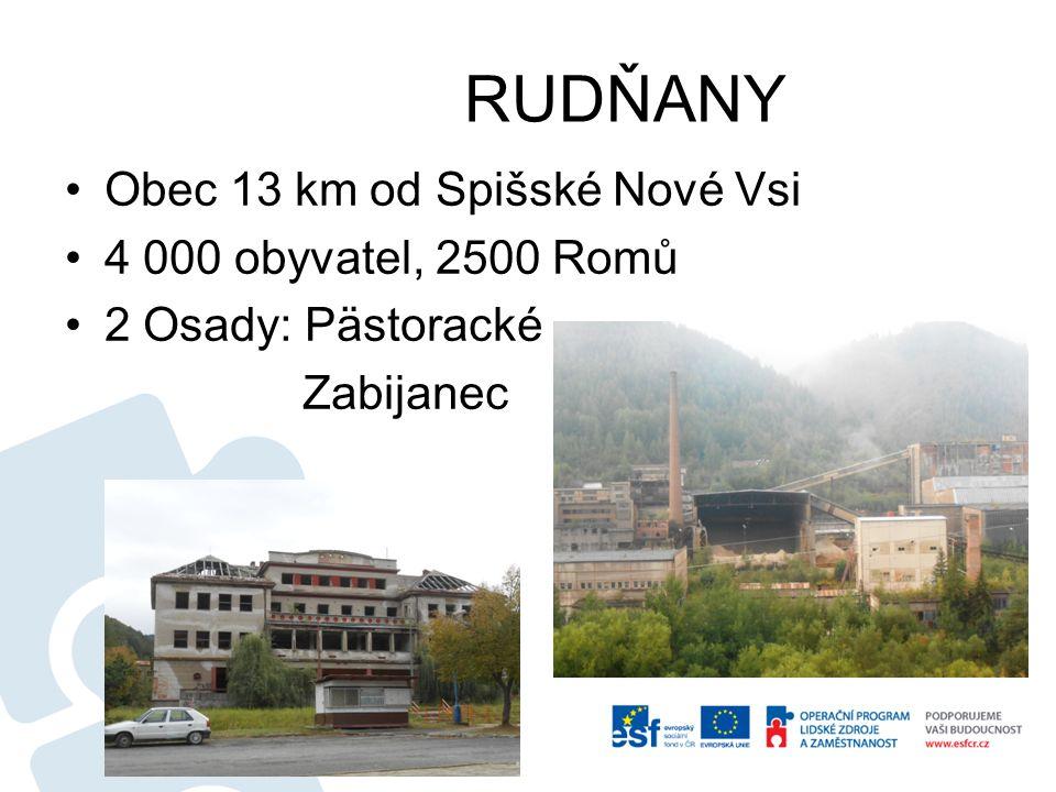 RUDŇANY Obec 13 km od Spišské Nové Vsi 4 000 obyvatel, 2500 Romů