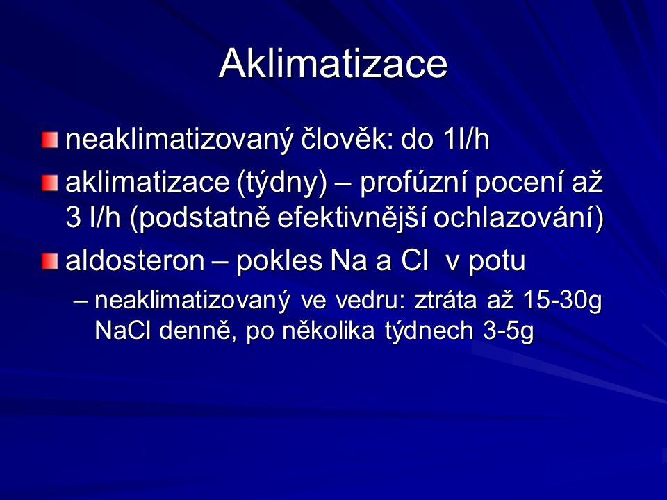 Aklimatizace neaklimatizovaný člověk: do 1l/h