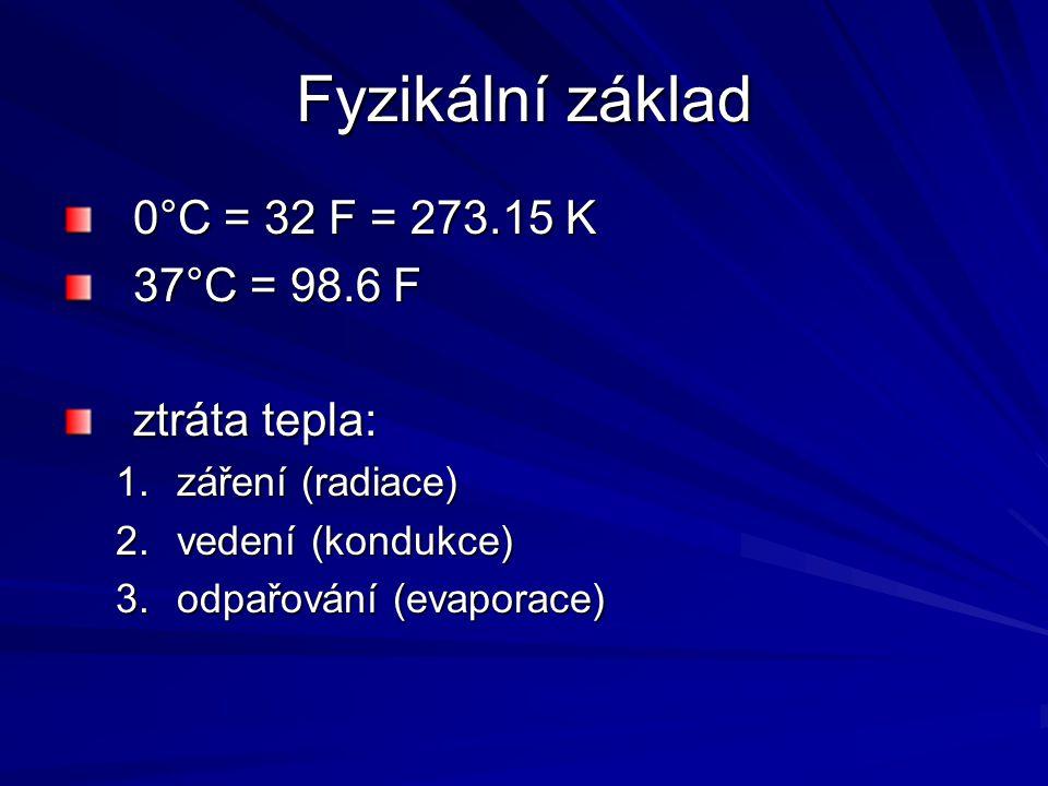Fyzikální základ 0°C = 32 F = 273.15 K 37°C = 98.6 F ztráta tepla: