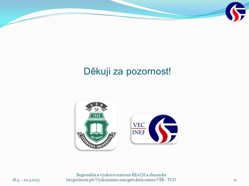 Děkuji za pozornost! 18.3. - 20.3.2015. Regionální a výukové centrum REACH a chemické bezpečnosti při Výzkumném energetickém centru VŠB - TUO.